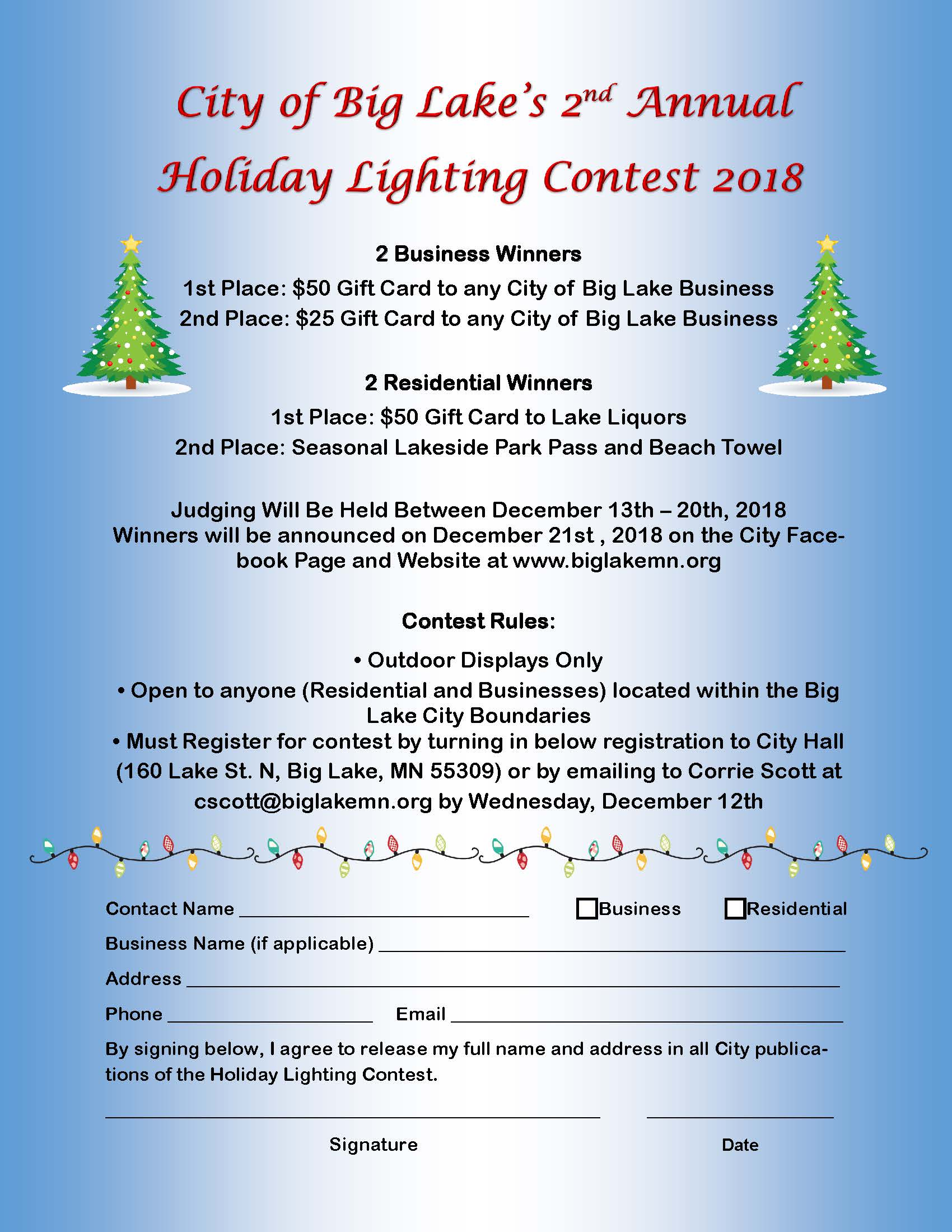 2018 Holiday Lighting Contest Flyer