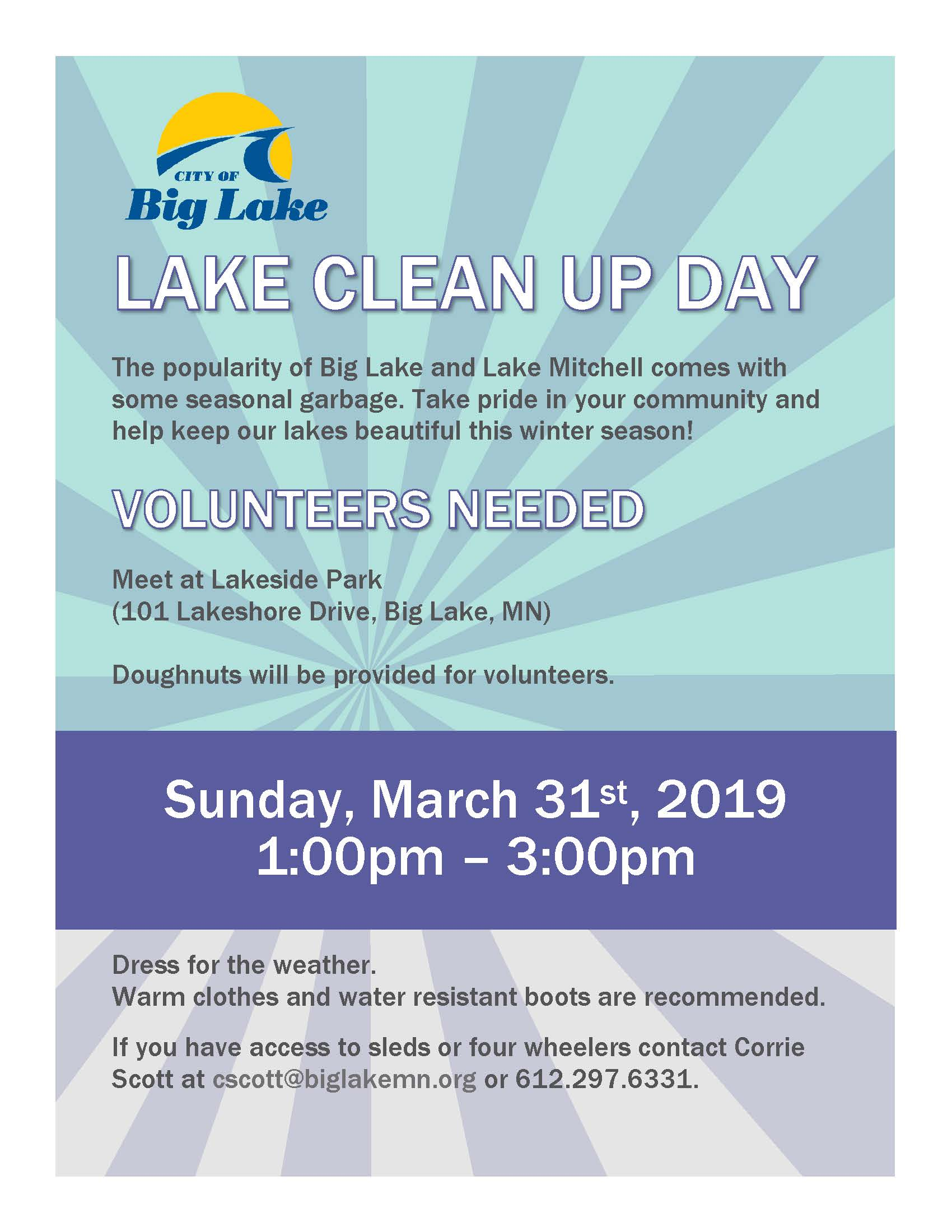 Lake Clean Up Flyer March 31