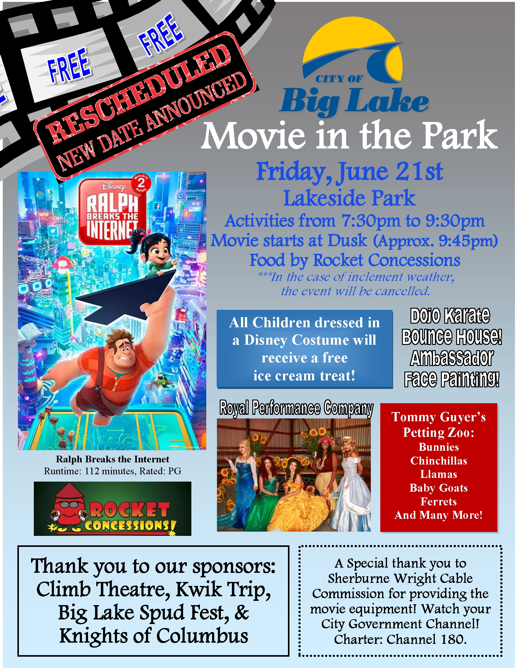 June Movie Flyer - Reschedule