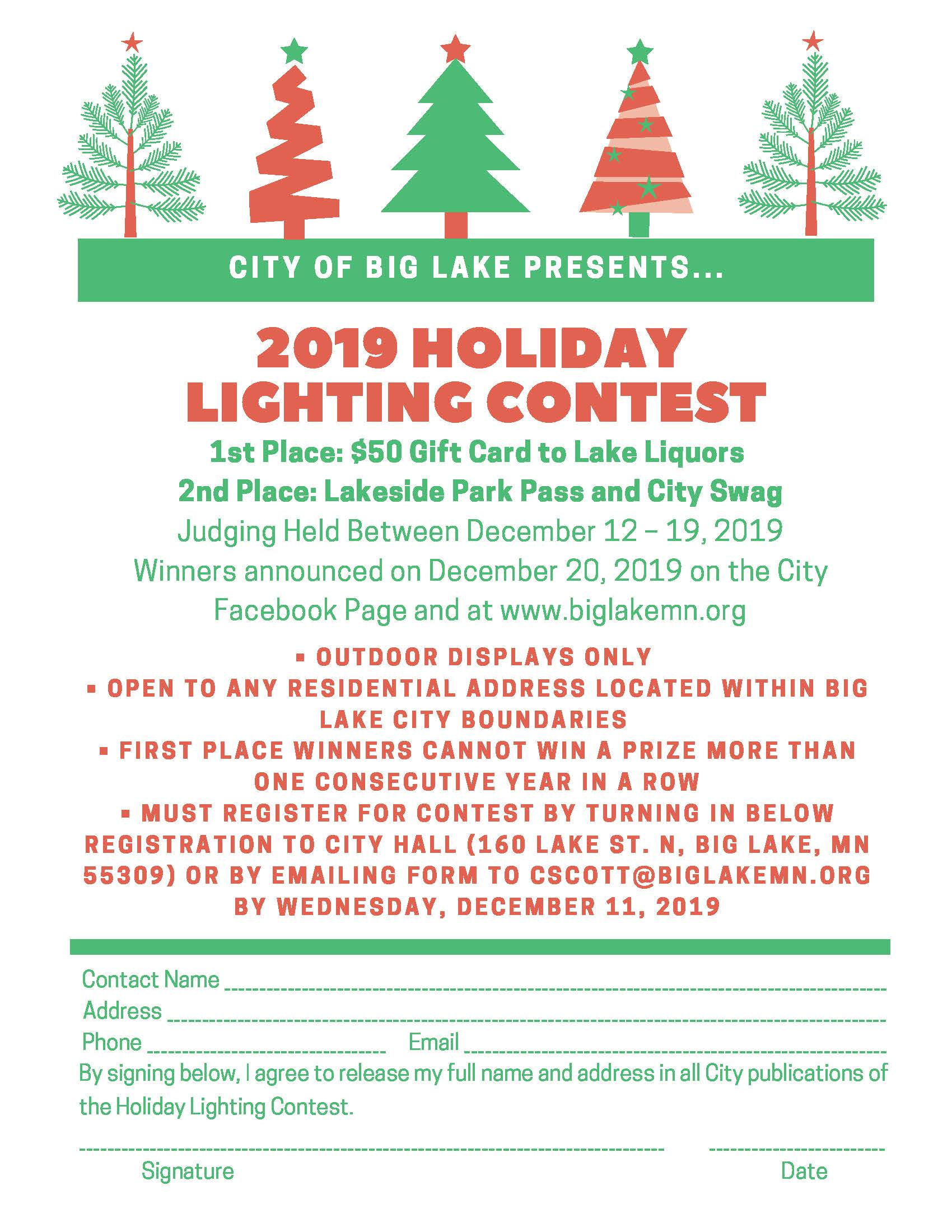 2019 Holiday Lighting Contest Flyer Updated